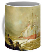 Docking A Cargo Ship Coffee Mug by William Lionel Wyllie