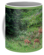 Doe And Twin Fawns Coffee Mug