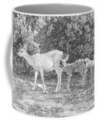 Doe With Twins Pencil Rendering Coffee Mug