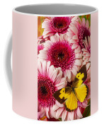 Dog Face Butterfly On Pink Mums Coffee Mug