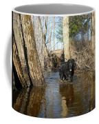 Dog Wading In Swollen River Coffee Mug