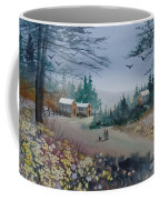 Dog Walking, Watercolor Painting  Coffee Mug
