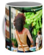 Dog Woman Walk Nyc Paint  Coffee Mug