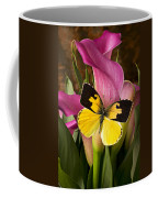Dogface Butterfly On Pink Calla Lily  Coffee Mug by Garry Gay