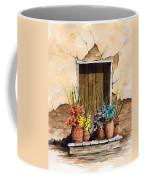 Door With Flower Pots Coffee Mug