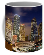 Downtown Houston At Night Coffee Mug by Olivier Steiner