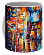 Downtown Lights - Palette Knife Oil Painting On Canvas By Leonid Afremov Coffee Mug