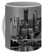 Downtown Pittsburgh At Twilight - Black And White Coffee Mug