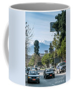 Downtown Street In Santiago De Chile City And Andes Mountains Coffee Mug
