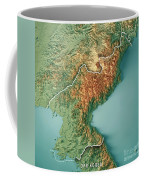 Dpr Korea 3d Render Topographic Map Border Coffee Mug