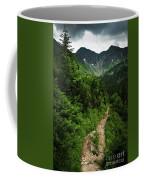 Dramatic Mountain Landscape With Distinctive Green Coffee Mug
