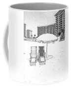 Drawing The Beach Chairs Coffee Mug
