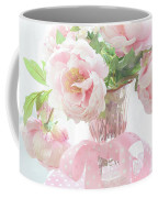 Dreamy Shabby Chic Cottage Pink Peonies In Vase - Romantic Pink Peonies Floral Bouquet Coffee Mug