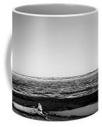 Driftwood On Arctic Beach Balck And White Coffee Mug