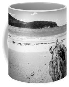 Driftwood On Beach Black And White Coffee Mug