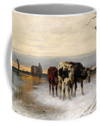 Driving The Herd Home In Wintry Landscape Coffee Mug