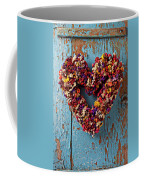 Dry Flower Wreath On Blue Door Coffee Mug