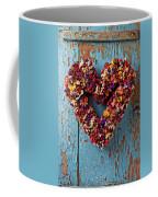 Dry Flower Wreath On Blue Door Coffee Mug by Garry Gay