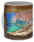 Dubrovnik Historic City And Harbor Aerial View Through Stone Win Coffee Mug