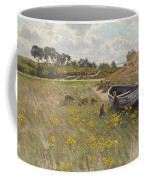 Dune Landscape With Children And Sheep Coffee Mug