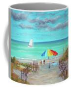 Dunes Beach Colorful Umbrella Coffee Mug