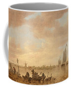 Dutch Seascape With Fishings Boats Coffee Mug
