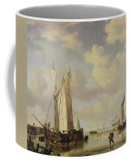 Dutch Vessels Inshore And Men Bathing Coffee Mug by Willem van de Velde