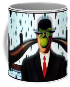 Ear Smoking Apple Guy Standing In The Man Rain Coffee Mug