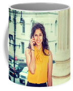 East Indian Woman Calling Outside Coffee Mug