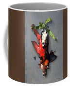 Eduard Quitton  Still Life With Green Ribbon, Fly, And Four American Birds Coffee Mug