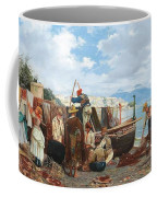 Eduardo Matania - Fishing Family In The Bay Of Naples 1872 Coffee Mug