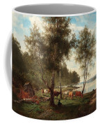 Edvard Bergh, Summer Landscape With Cattle And Birches. Coffee Mug