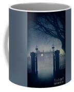 Eerie Mansion In Fog At Night Coffee Mug