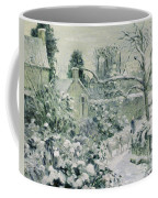 Effect Of Snow With Cows At Montfoucault Coffee Mug by Camille Pissarro