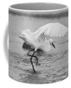 Egret Hunting In Black And White Coffee Mug