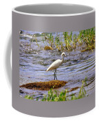 Egret On A Rock Coffee Mug