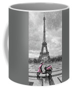 Eiffel Tower In The Rain With Pink Scooter Of Paris. Black And W Coffee Mug