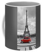 Eiffel Tower With Car. Black And White Photo With Red Element. Coffee Mug