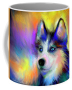 Electric Siberian Husky Dog Painting Coffee Mug by Svetlana Novikova