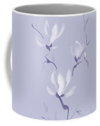 Elegant Branch Of White Magnolia Flowers Artistic Design On Ligh Coffee Mug