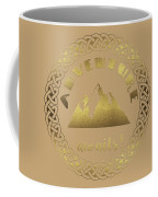 Elegant Gold Foil Adventure Awaits Typography Celtic Knot Coffee Mug