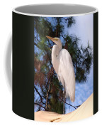Elegant White Crane Coffee Mug