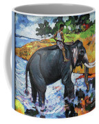 Elephant And Man Coffee Mug