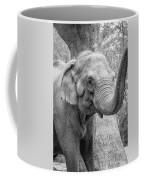 Elephant And Tree Trunk Black And White Coffee Mug