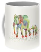 Elephant Family Watercolor  Coffee Mug