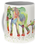 Elephant Family Watercolor  Coffee Mug by Melly Terpening