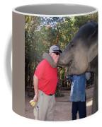 Elephant Kissing Man Holding Bananas Coffee Mug
