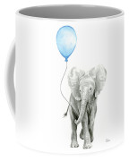 Elephant Watercolor Blue Nursery Art Coffee Mug
