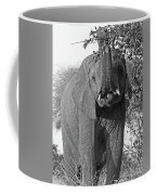 Elephant's Supper Time In Black And White Coffee Mug