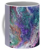 Emerald And Amethyst. Abstract Fluid Acrylic Painting Coffee Mug